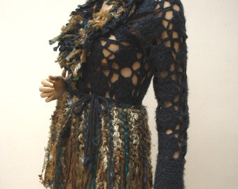 Openwork Upcycled adorned  sweater, textil art clothes, reworked, upcycled clothing, Art to wear, wearable art clothing