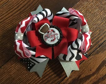 Ohio State Buckeye Over Top Hair Bow
