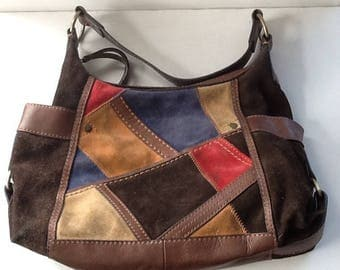 Vintage Leather Patchwork Purse / '80's Leather and Suede Handbag / Abstract Patch Purse / Free Shipping