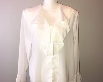 Vintage 90's Flowy Poets Blouse / size 12 / By Impressions