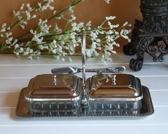 Vintage Silver Plated Serving Tray - Butter Dish - Relish Dishes - Glass Inserts with Butter Knife - Vintage Wedding Decor - Hostess Gift