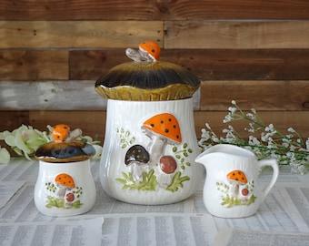 Vintage kitchen mushroom cookie jar Cookie Jar Sugar Bowl and mini Creamer Set Vintage storage Retro Serving Set Collectible