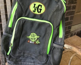 Monogrammed Backpack | Mesh Backpack | Back to School | Star Wars Backpack | Boys Backpack | Yoda Backpack | Embroidered Mesh Backpack