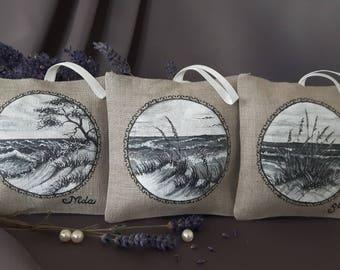 Hand painted linen sachets, seashore (organic dried levander inside)