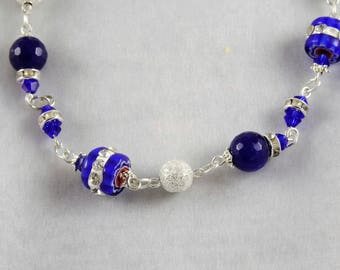 Blue Necklace blue jade, Murano and Rhinestones, Crystal and beautiful magnetic clasp, stardust beads