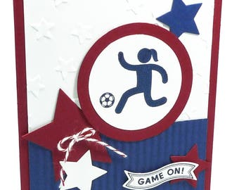 110-Soccer Female Happy Birthday Card, Way to Go, Champ!, Athlete, Girl or Woman, Red, White & Blue Stars, Sports, Score, Team, Goal, Player