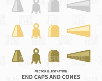 End Cups Vector Illustration - Jewelry Findings Components