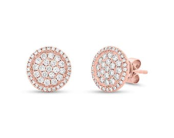 14K Rose Gold Pave Diamond Stud Earrings, Circle Disc Stud Earrings 0.55CT