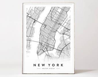 New york city map, new york print, new york city, new york poster, city map print, map poster, map print, manhattan map, affiche scandinave
