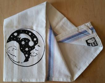 Tea Towel - Owl and Moon Meet (Blue Stripe)