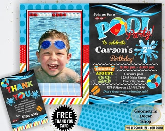 Pool / Party / Invitation / Pool / Bash / Birthday / Invite / Boy / Swimming / Water / Slide / Blue / Red / Chalkboard / Swim / BDP20/19