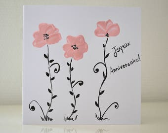 birthday card romantic flowers woman hand painted