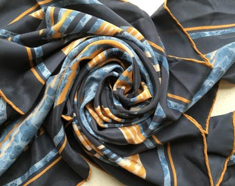 Vintage Square Pure Silk Scarf - Blues and Browns Abstract Stripes - New Perfect and Unused from 1980s Stock