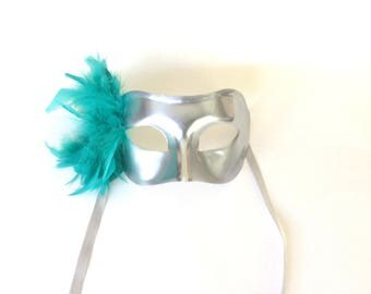 """Silver and Turquoise Masquerade """"Colombina Feather"""" Mask"""