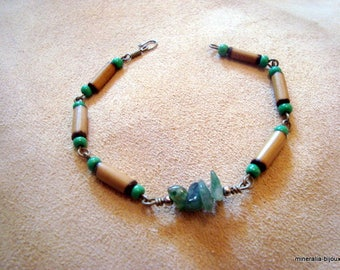 ethnic bracelet Moss agate stones and bamboo