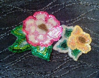 80s Sequin and Beaded Flower Applique