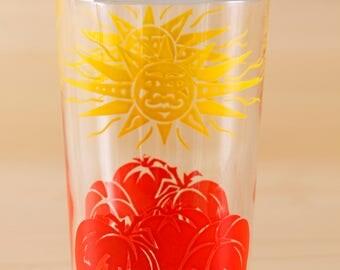 Vintage set of 5 sun and tomato motif juice glasses