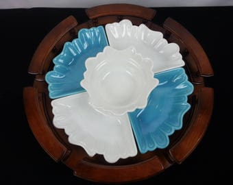 mid century california pottery 5 piece usa l58 appetizer dishes w lazy susan