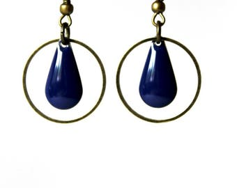 Earrings blue enameled Sequin dark bronze rings