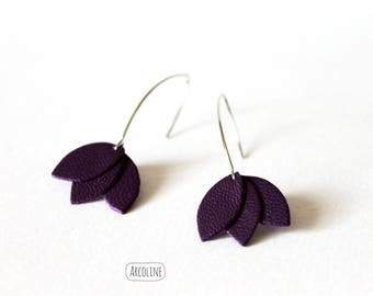 Earrings petal leather purple ° °