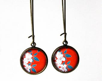 Earrings Cabochon 14 mm (Retro) Floral Japanese °