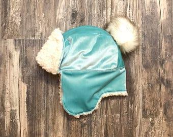 Huntress - Mint Velvet Trapper Hat/Bonnet with Fur Pom