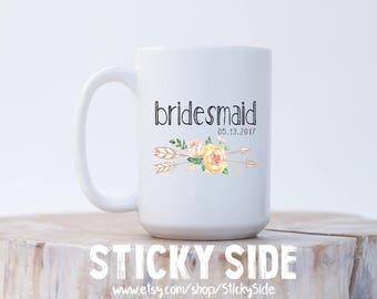 Bridesmaid Mug, Bridesmaids Mug, Bridal Party Mug, Bachelorette Mugs, Mug For Bridesmaid, Bridesmaid Mug Gift, Floral Coffee Mug
