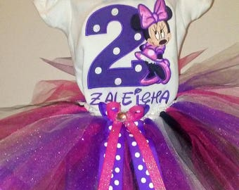 Purple and Pink Minnie Mouse 2nd Birthday Outfit 2nd Birthday Shirt Pink Minnie Mouse Birthday Shirt Minnie Mouse Birthday Outfit