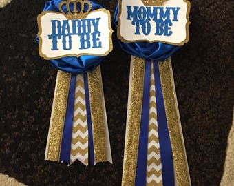 Mommy To Be Pin -- Royal Prince Baby Shower -- Royal Blue and Gold Pin