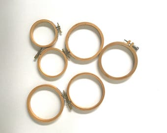 Large Collection of Miniature Embroidery Hoops, Set of Six