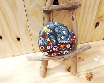 Painted rock rustic home decoration gift for her, Christmas, birthday, anniversary folk art hand painted Australia garden decor unique stone