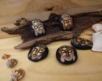 Golden Buddha painted rocks collectibles, miniature art, original gift - SET OF FIVE - small stones desk decorations meditation Australia