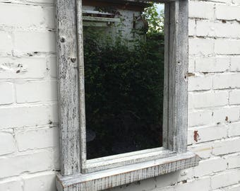 Lovely shabby chic mirror with shelf - hand crafted