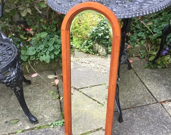 Lovely Slim Oval Mirror With Old Patina Beveled Mirror and hanging chain.