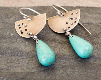Turquoise dangle earrings, Sterling silver earrings, Tear drop silver earrings, Artisan earrings, Turquoise Howlite earrings, Boho eaeeings