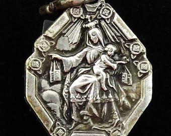 Our Lady of Mount Mt Carmel Vintage Medal Sacred Heart Jesus