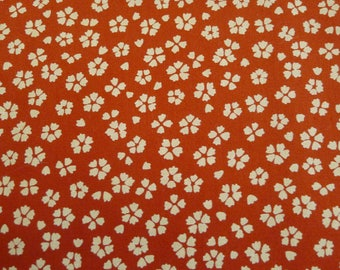 Japan orange and beige 50x50cm flowers Limited Edition Japanese fabric coupon