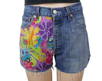 Levis 501 Shorts Cut Offs Love Bus Campervan Peace Festival Customised Blue Denim W32 Approx UK 12