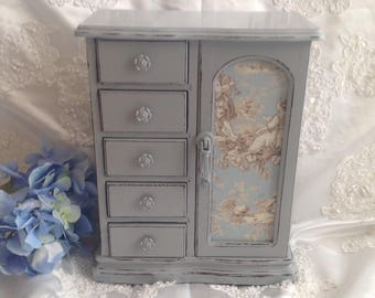 Jewelry Box Armoire Shabby Chic Hand Painted Soft Gray Distressed Upcycled Vintage  Wood Jewelry Box Toile Fabric