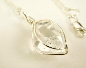 NY HERKIMER DIAMOND Pendant - 11 x 15 mm - Sterling Silver Crystal Pendant - Mariel Cristofar Jewelry - Herkimer Diamond - Herkimer Pendant