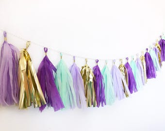 Tassel Garland | Tassel Banner | Mermaid Tassel Garland | Teal Party Decor | Purple, Mint, and Gold Tassel Banner | Mermaid Party Decor