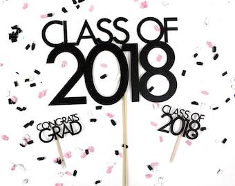 Graduation Cake & Cupcake Topper Set | Class of 2018 Cake and Cupcake Topper | Congrats Grad Cupcake Topper | Glitter Graduation Toppers