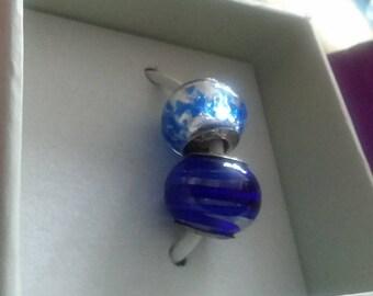New QVC Prerogatives murano glass STERLING Boxed w/Bear charm bead spacer fits Pandora Persona Chamilia Sislenia Charmed Memories Zable