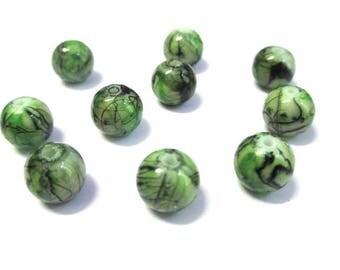10 Brown, dark green painted glass 10mm beads