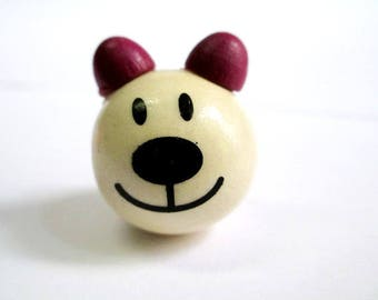 Wood bead wooden 3D color bear head and plum 28x25mm