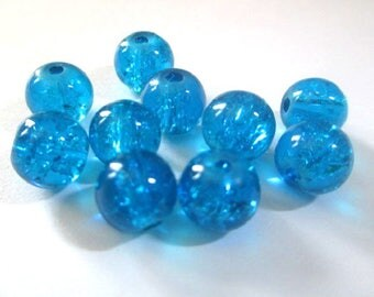 10 blue beads, Crackle Glass 8mm