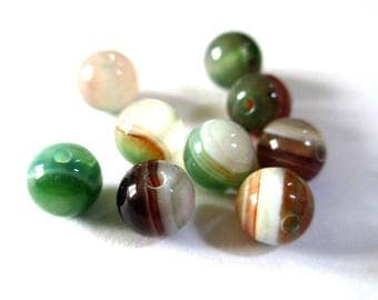 10 color striped agate beads Green Brown and white 6mm