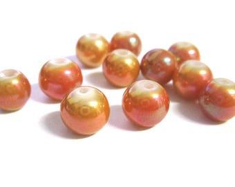 10 pearl beads shiny orange painted glass 8mm (O-44)