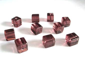 20 square purple clear glass beads 8x8mm