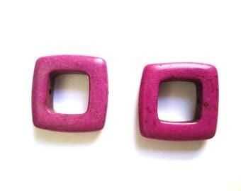 2 square 19mm purple howlite beads